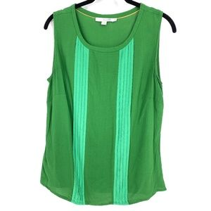 Boden Sixties Shell Top Green Pleated Sleeveless